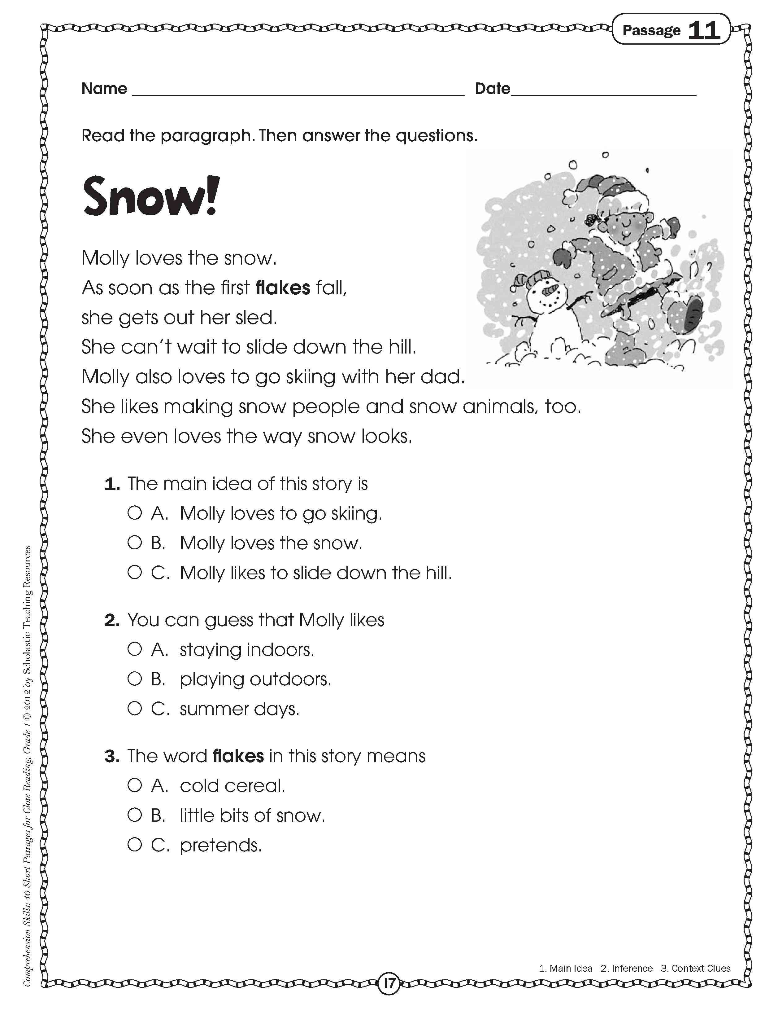 10 Best Main Idea Worksheets For First Grade reading comprehension worksheets holidays best of teaching first 2021