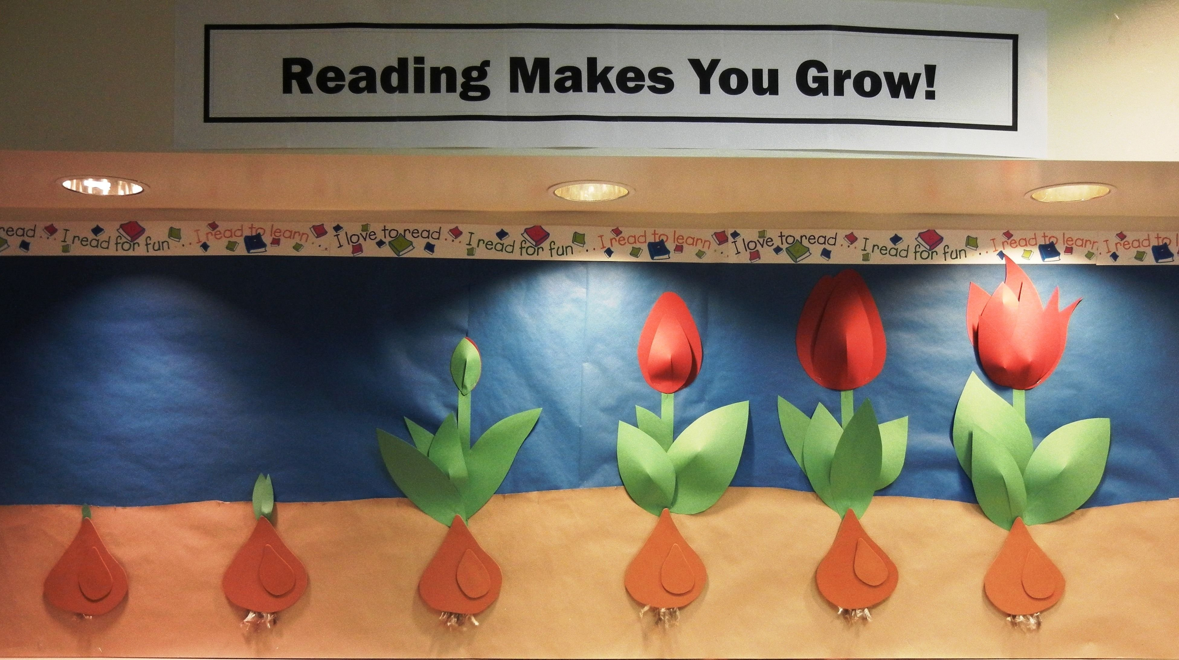 10 Attractive Spring Library Bulletin Board Ideas reading makes you grow bulletin board board and december