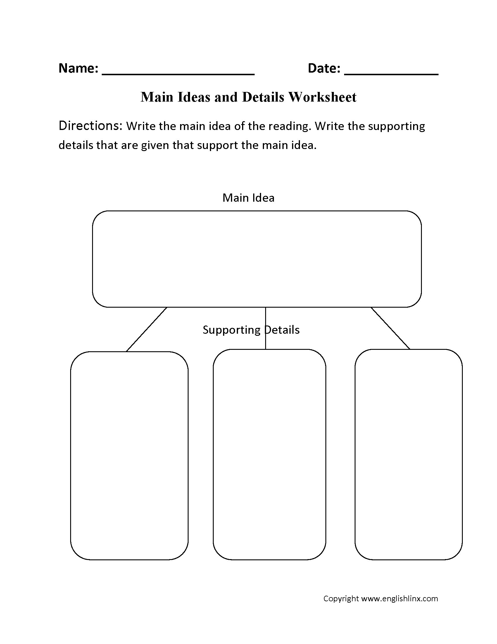 reading worksheets | main idea worksheets