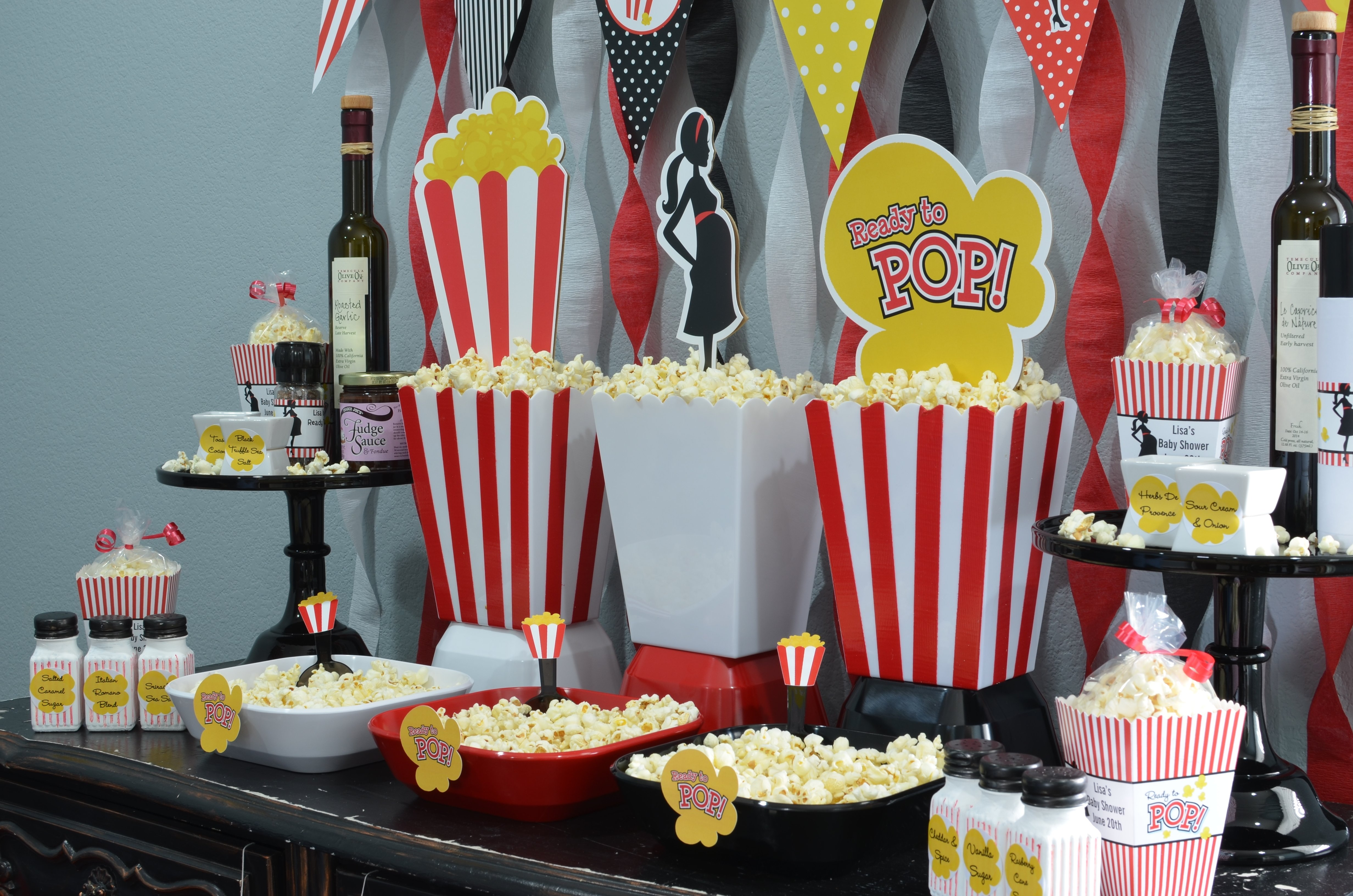 10 Attractive Ready To Pop Baby Shower Ideas ready to pop baby shower red cut out used as popcorn box decor