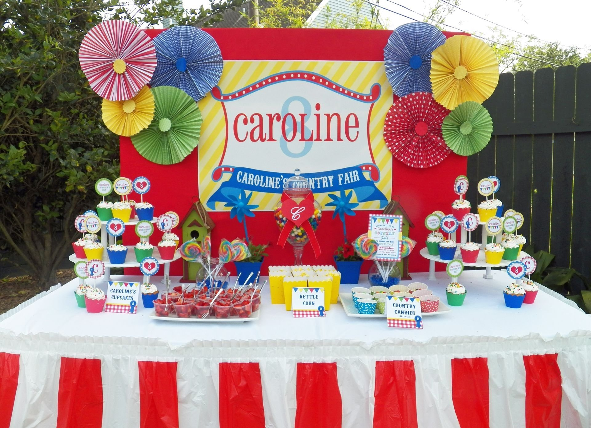 10 Most Popular Carnival Party Ideas For Adults red and blue gingham table cloths burlap covered potted plants 2020