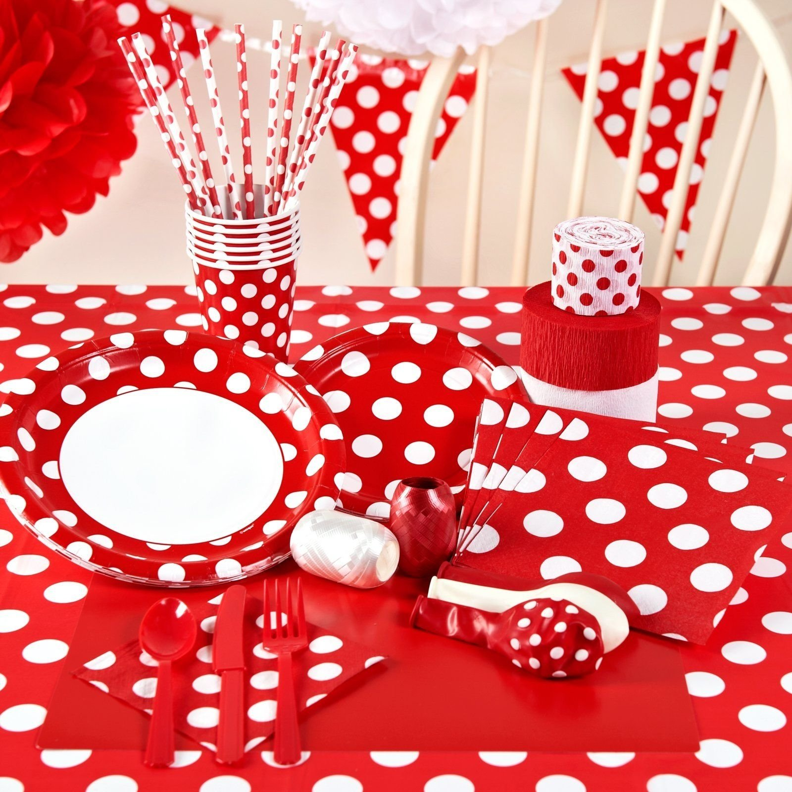 red and white dots party packs, 95175 | birthday party ideas