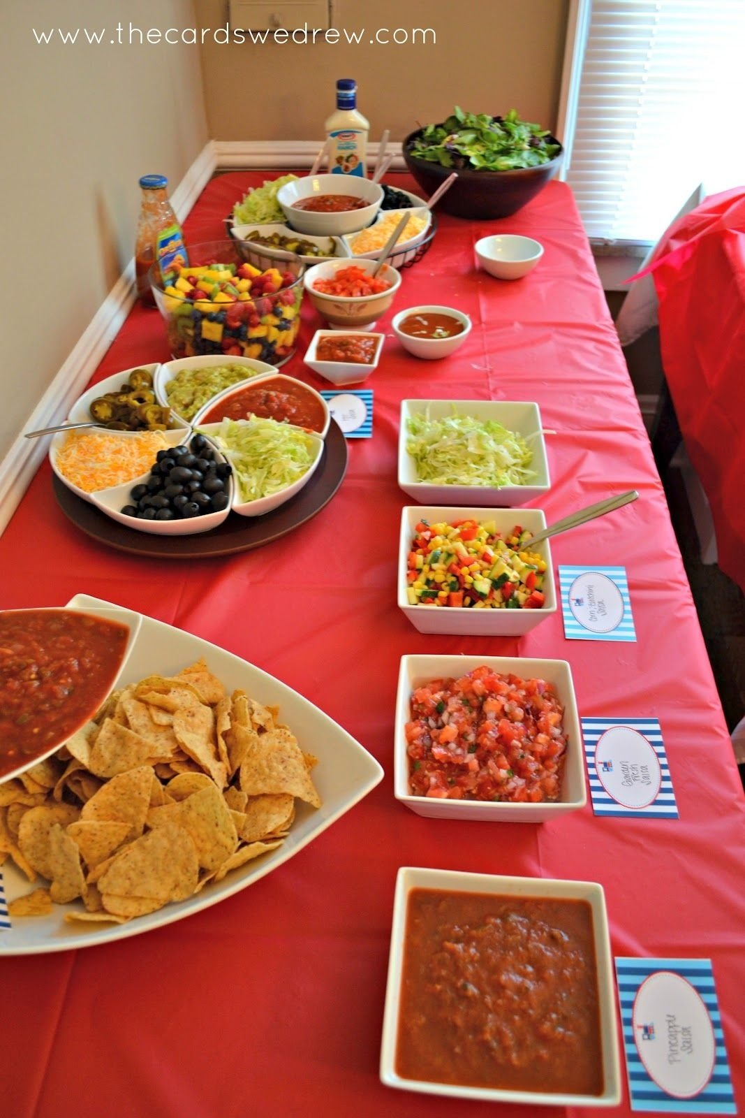 10 Gorgeous Taco Bar Ideas For Party red blue train party taco bar meat and bar 2021