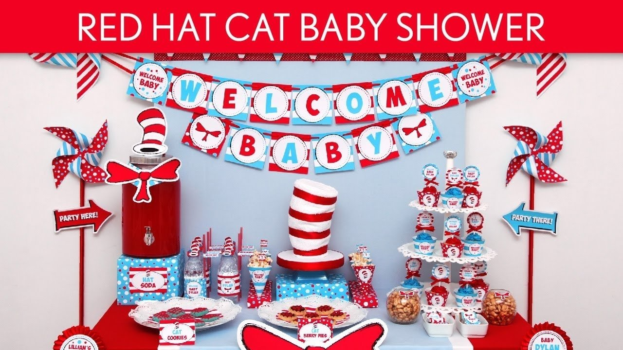 red hat cat baby shower party ideas // red hat cat - s25 - youtube