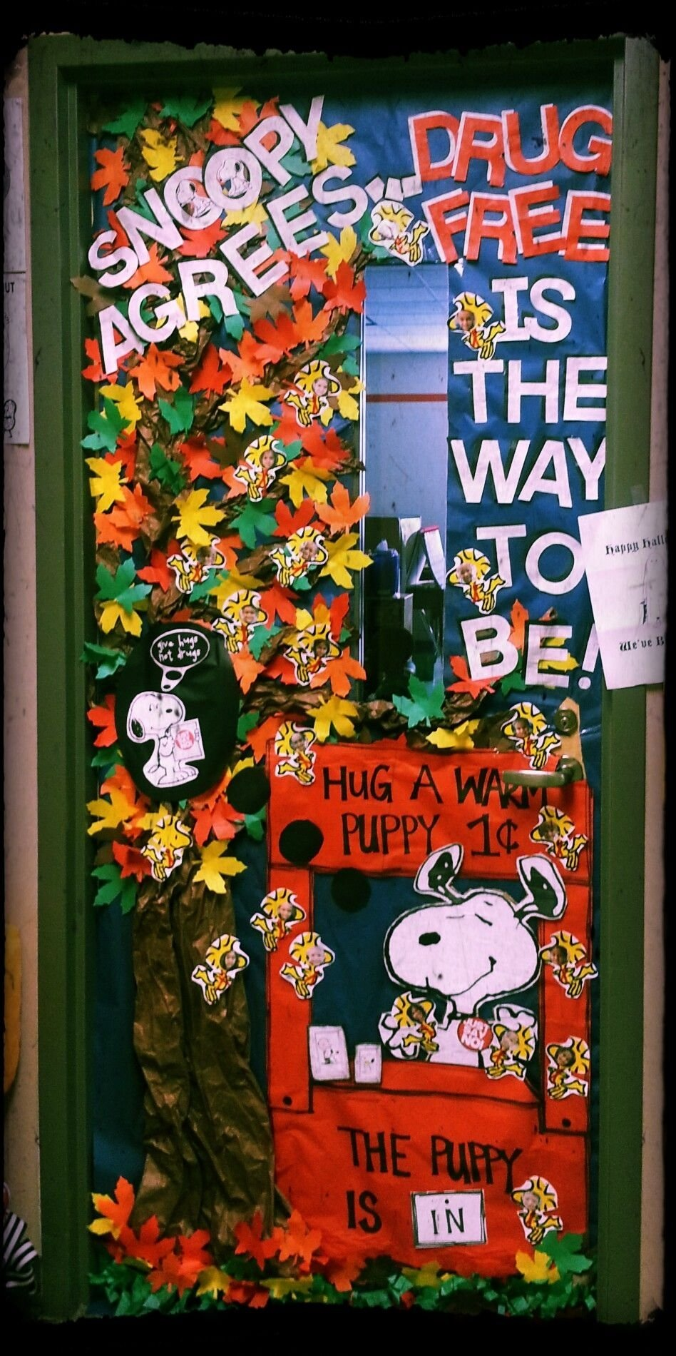 "red ribbon week. door decorating contest. ""snoopy agreesdrug free"