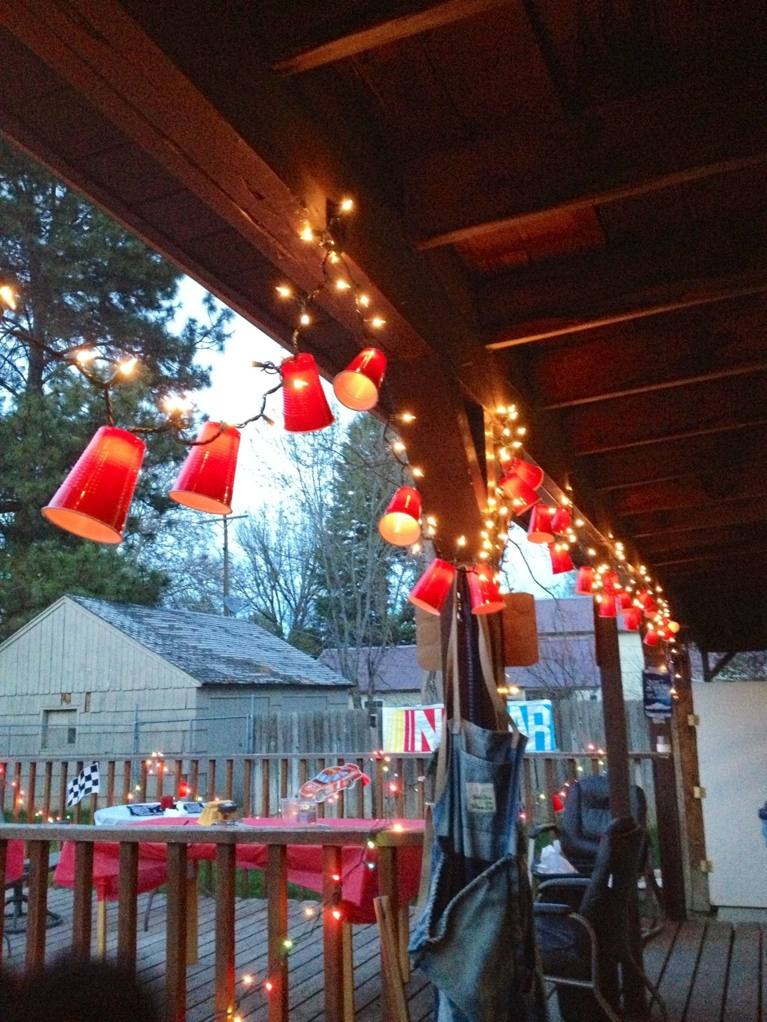 10 Lovable White Trash Christmas Party Ideas red solo cup lights so easy to make cut an x in the bottom of the 2021