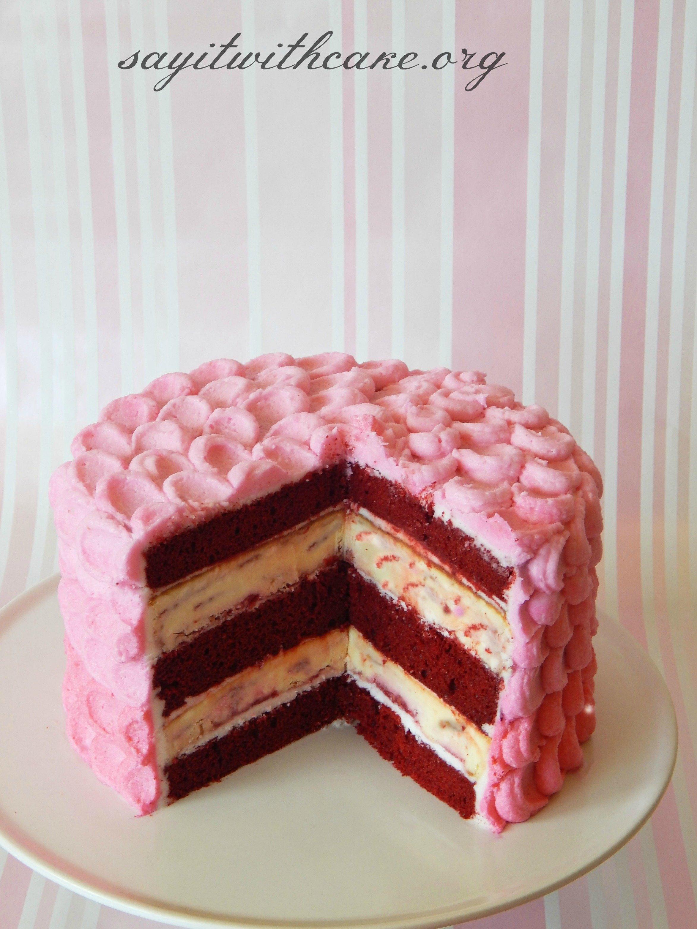 10 Famous Red Velvet Cake Filling Ideas red velvet raspberry swirl cheesecake cake say it with cake 2020