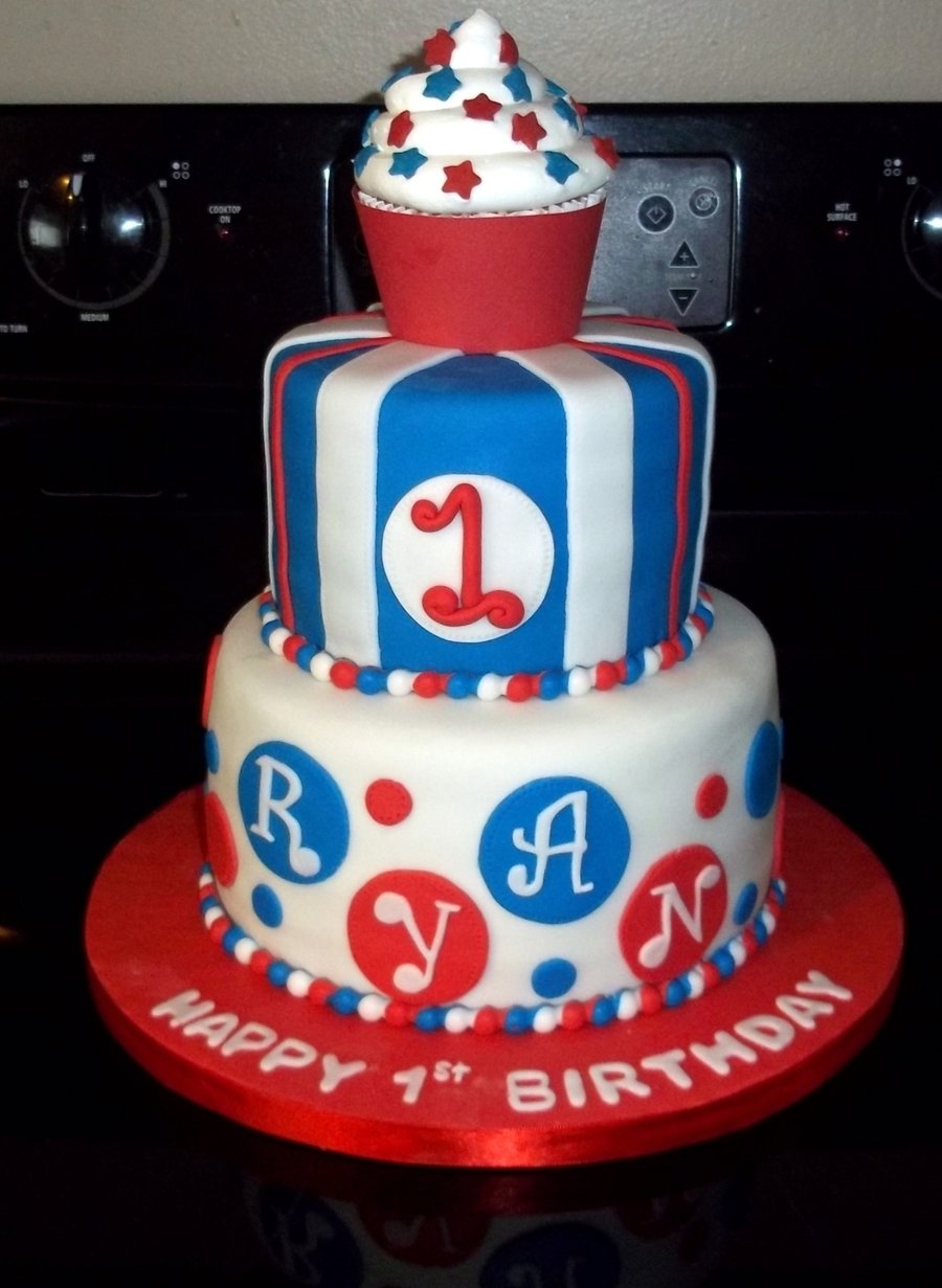 red white and blue first birthday cake - cakecentral