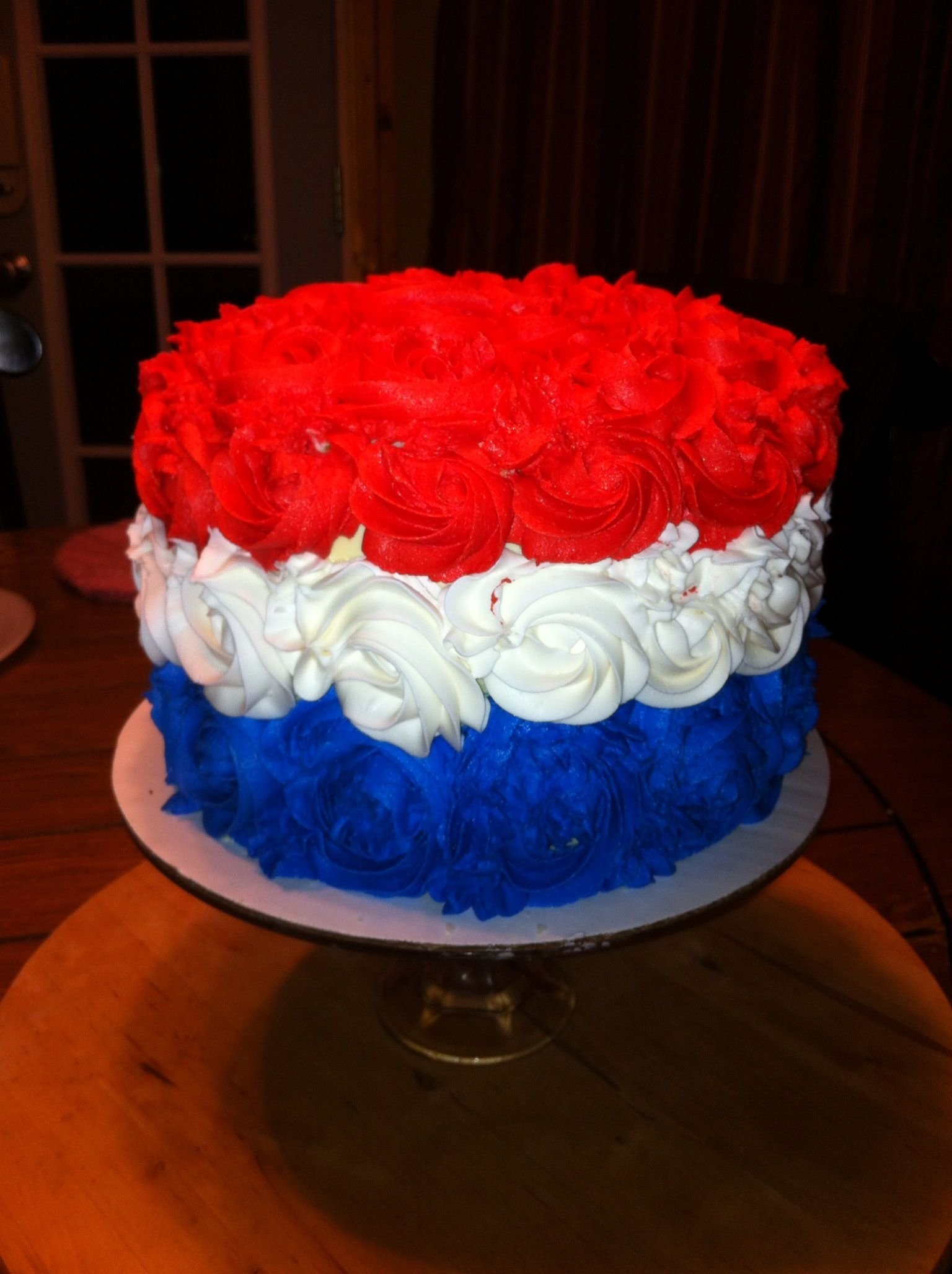 red white and blue rosette cake!!!! | bday | pinterest | blue cakes