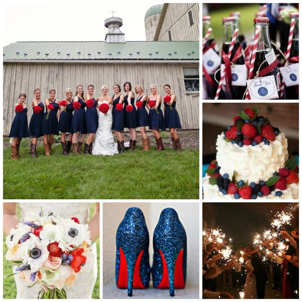red, white and blue wedding ideas