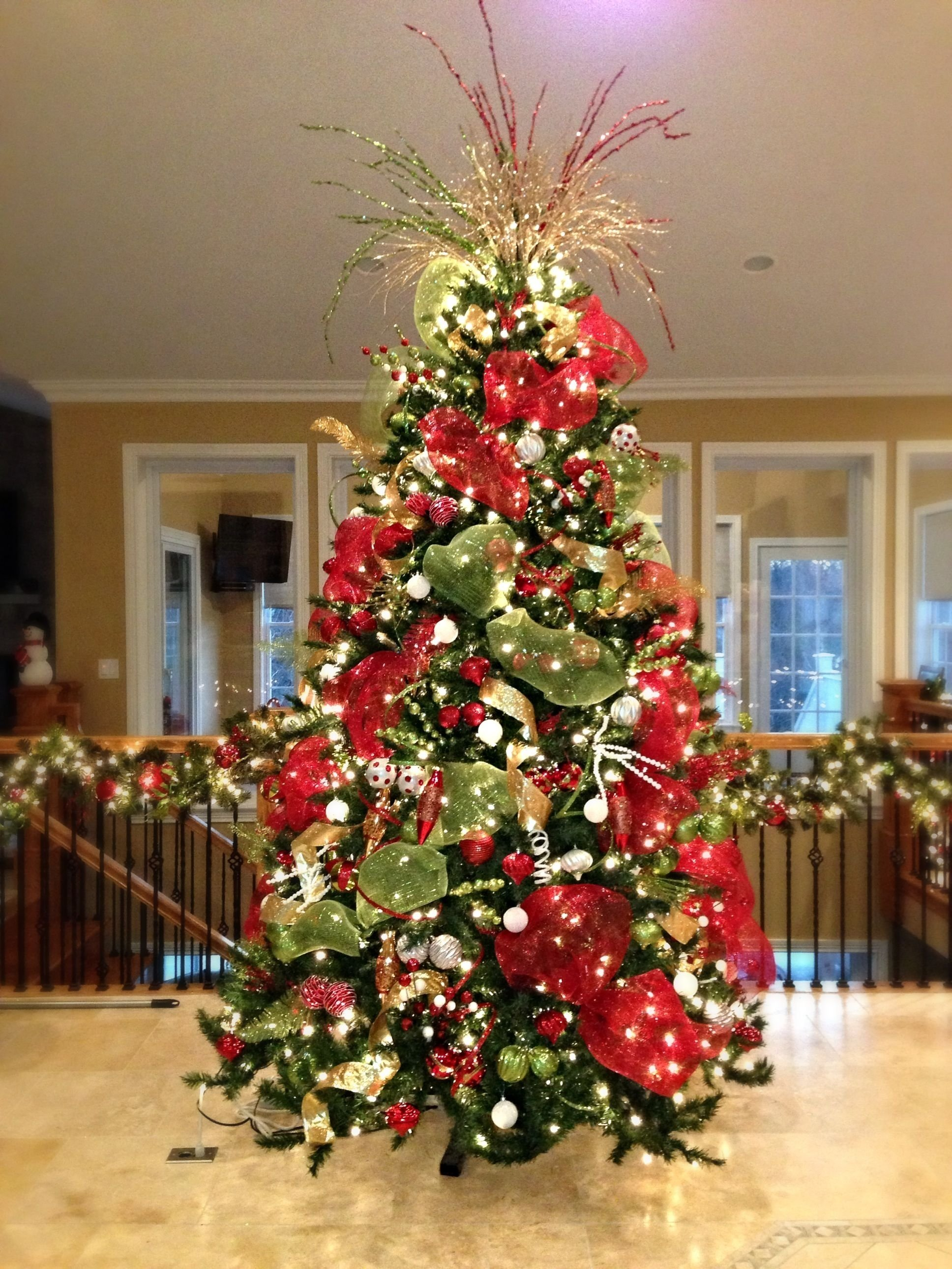 red, white, and green christmas tree - substitute the white with