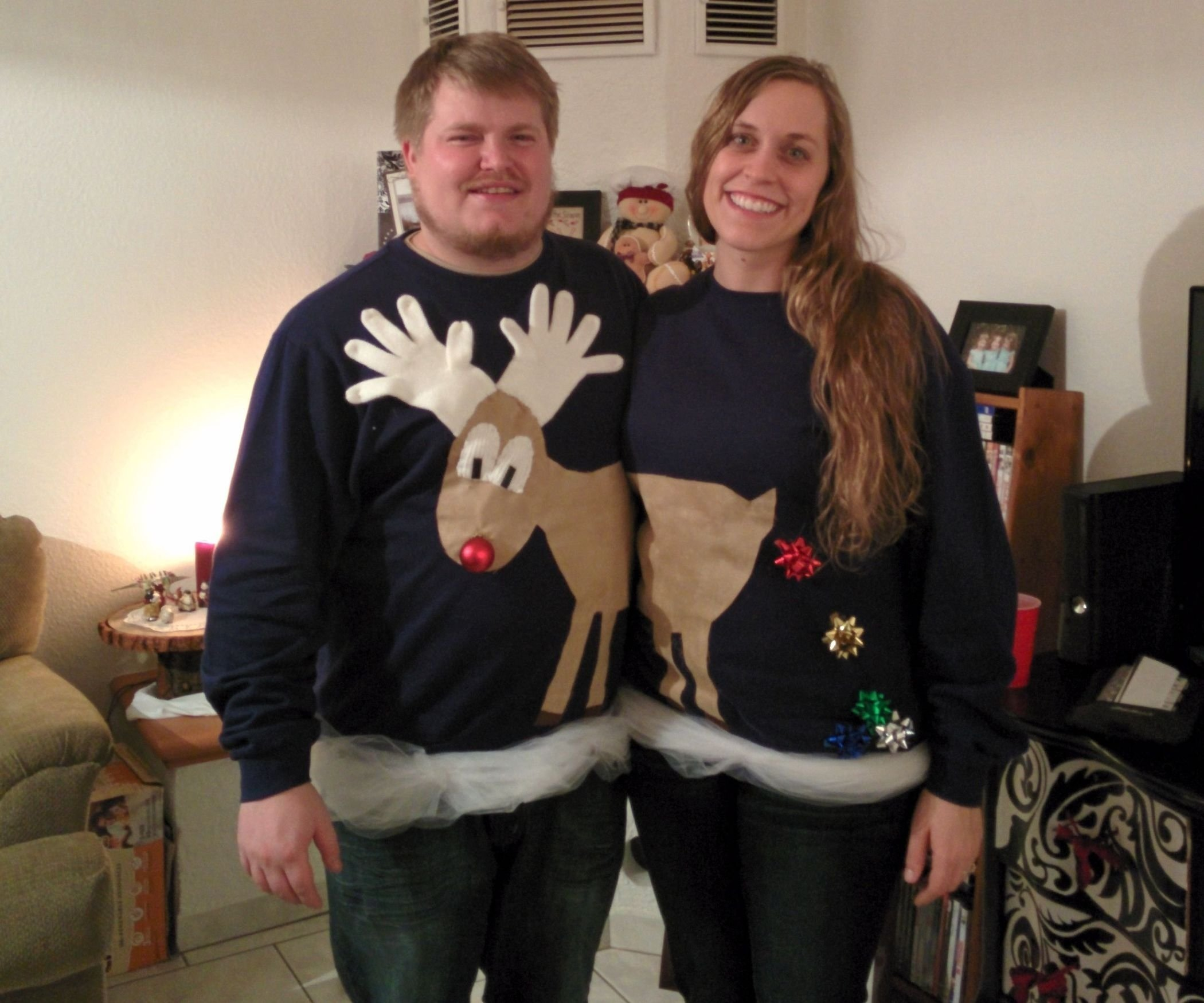 10 Awesome Ugly Christmas Sweater Ideas For Couples reindeer couples ugly sweater 1 2020