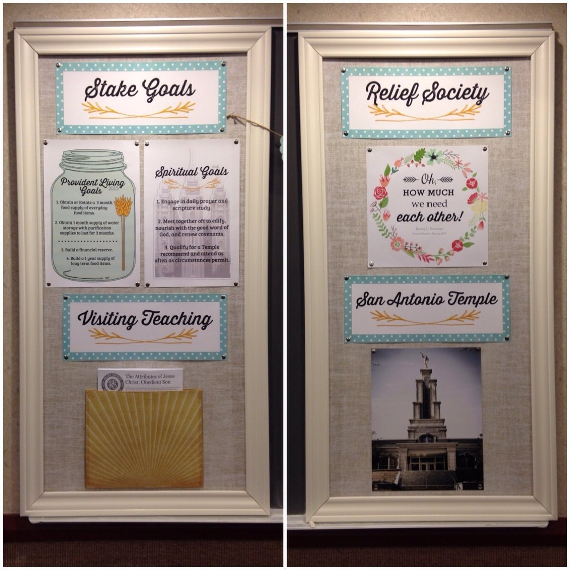 relief society bulletin board makeover. | relief society | pinterest
