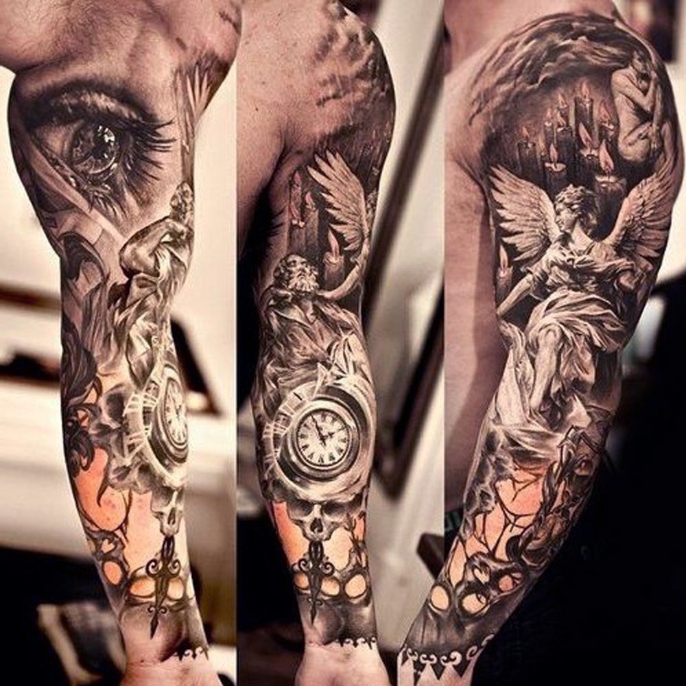 10 Attractive Ideas For A Sleeve Tattoo religious tattoo sleeve best 3d tattoo ideas pinterest 1 2020
