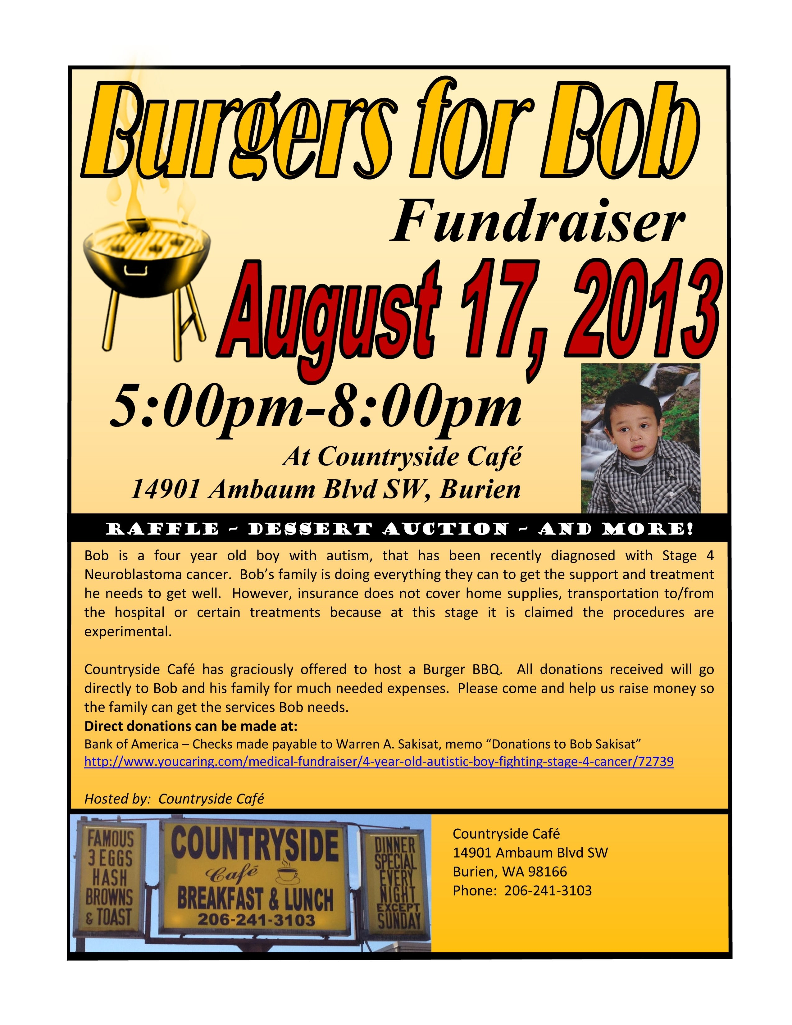 10 Attractive Fundraising Ideas For Medical Expenses reminder burgers for bob fundraiser will be this saturday aug 2020