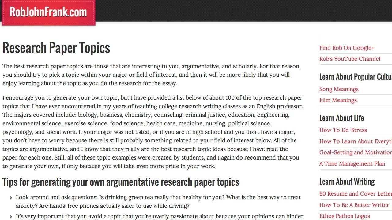 10 Amazing Psychology Experiment Ideas For College Students research paper topics top 100 best research topics youtube