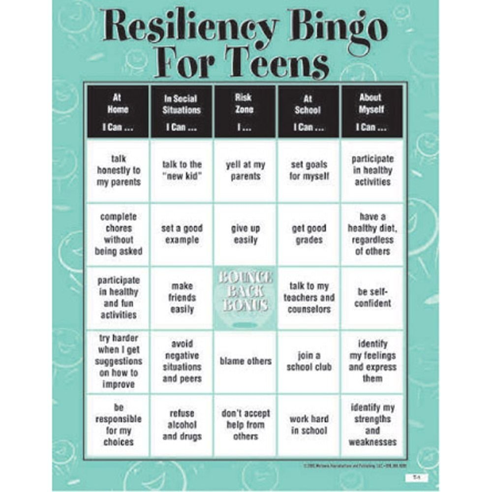 10 Awesome Group Therapy Ideas For Teenagers resiliency bingo game for teens classroom activities pinterest 2021