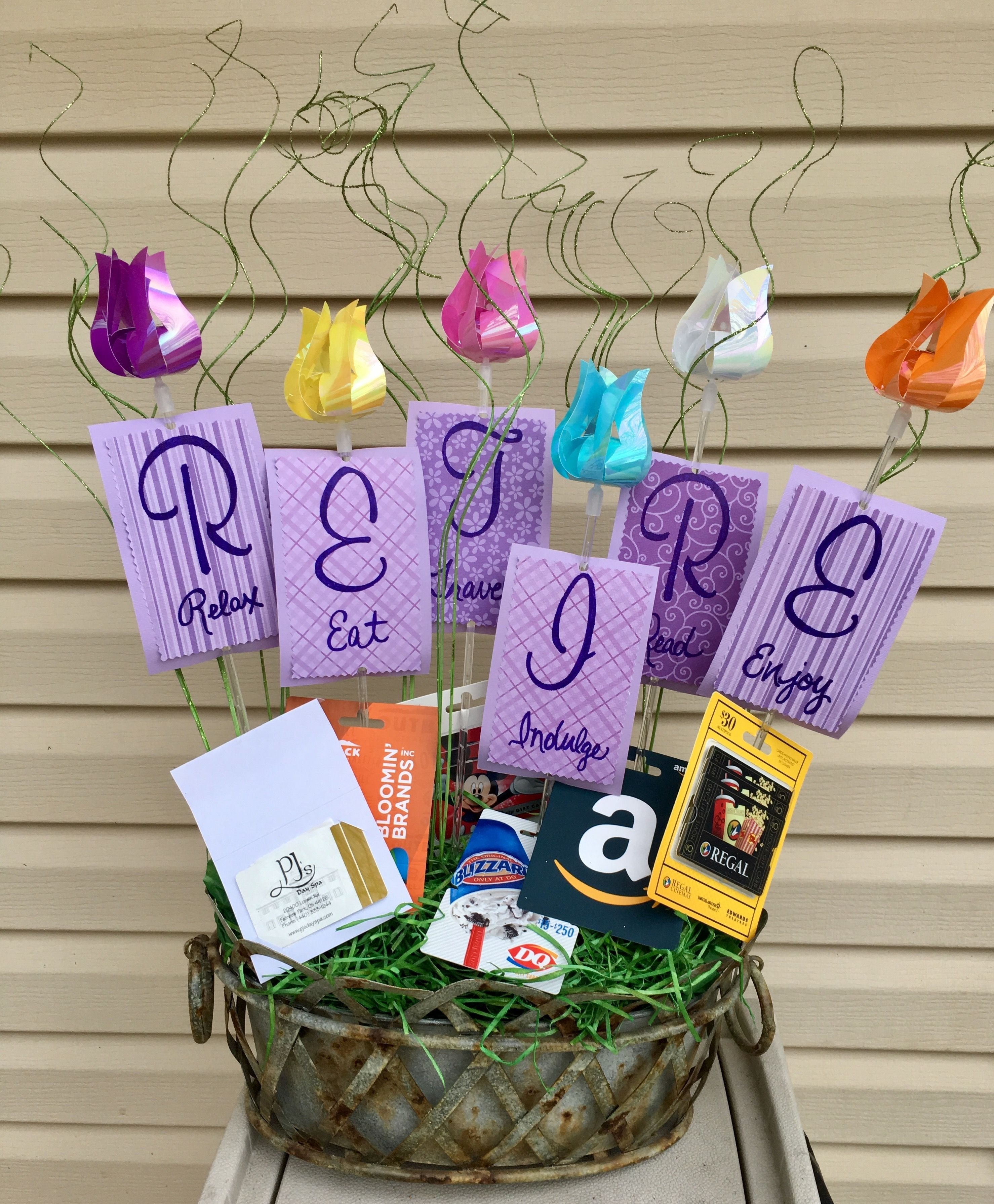 10 Elegant Gift Card Ideas For Women retirement gift basket with gift cards relax eat travel indulge 3 2020