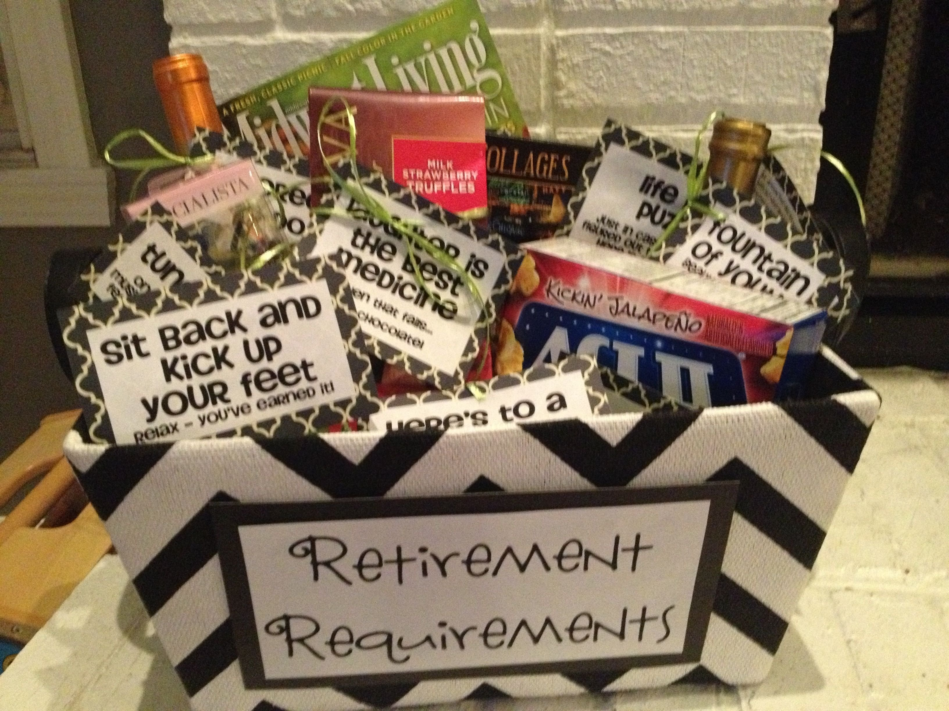 """retirement requirements"""" gift basket #retirement #retire #gifts http"""
