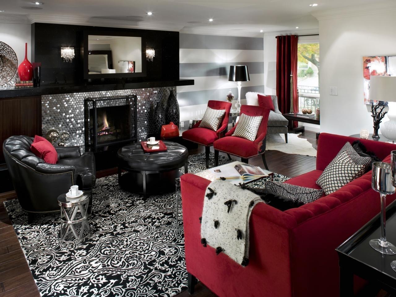 retro red, black and white family room | hgtv