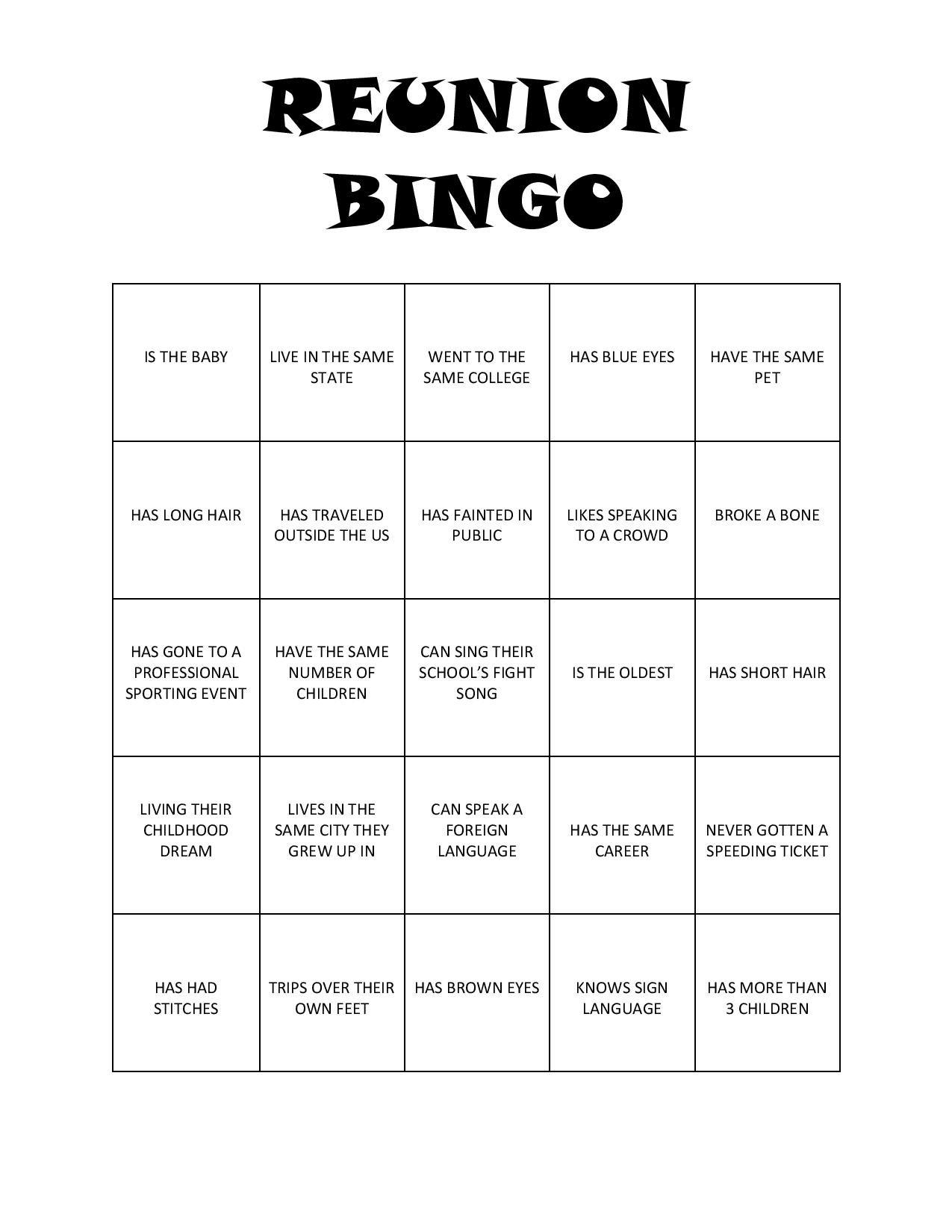 10 Trendy Family Reunion Games And Ideas reunion bingo free printable 2020