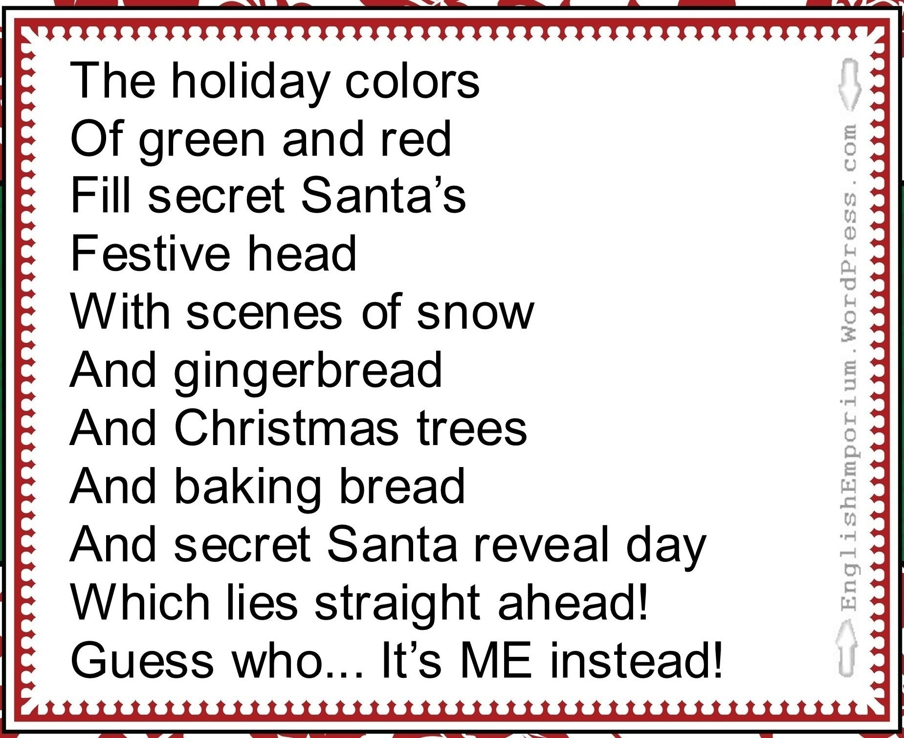 10 Most Recommended Secret Santa Ideas For Work reveal poem secret pal ideas from author chelly wood 2020