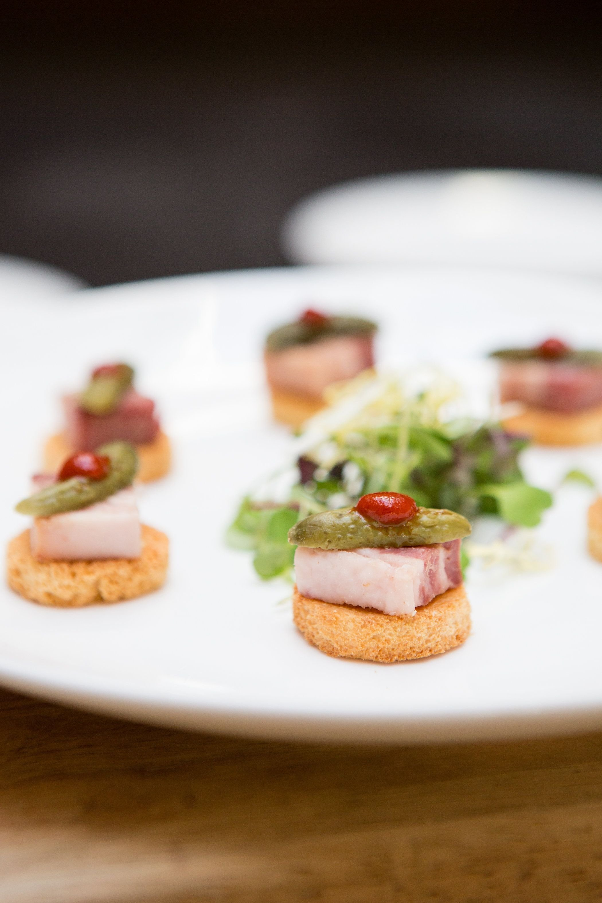 10 Nice Passed Hors D Oeuvres Ideas rh passed hors doeuvres pork belly crostini with pickles and 2021
