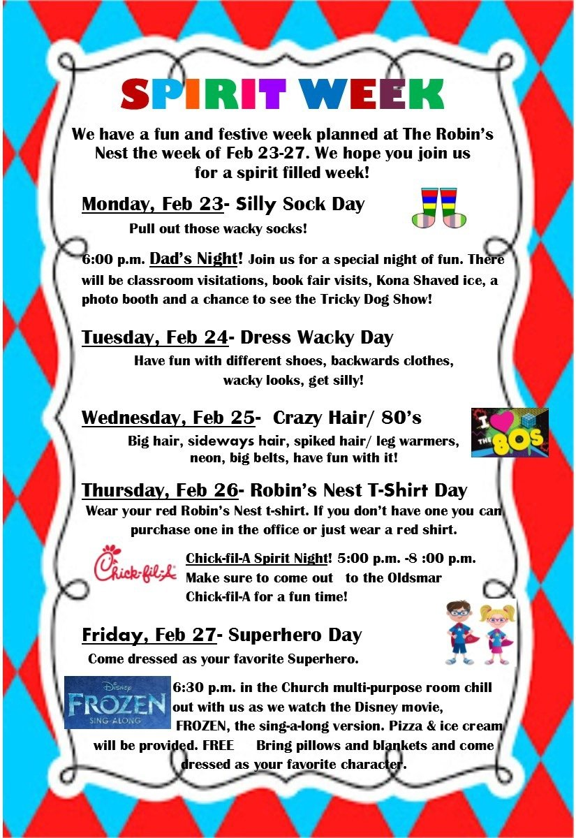 10 Stylish Good Ideas For Spirit Week robins nest spirit week starts monday the robins nest preschool 2020
