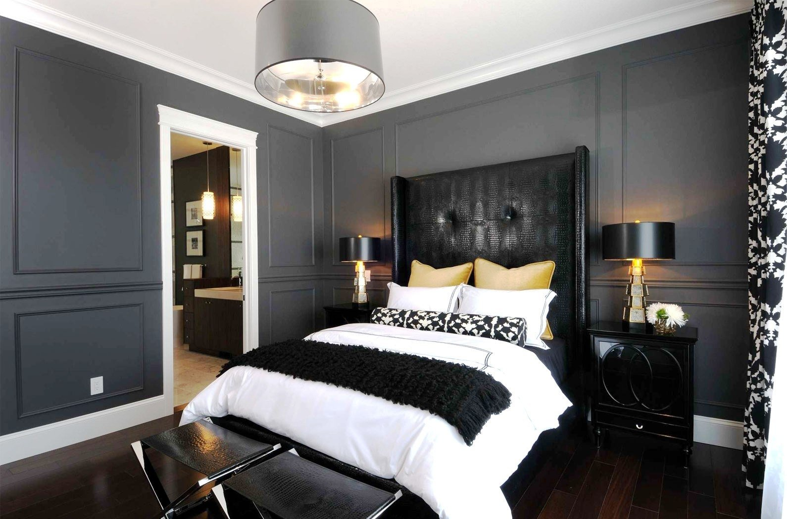 10 Nice Bedroom Color Ideas For Couples romantic black and grey master bedroom with drum lamp ideas relaxing 2020