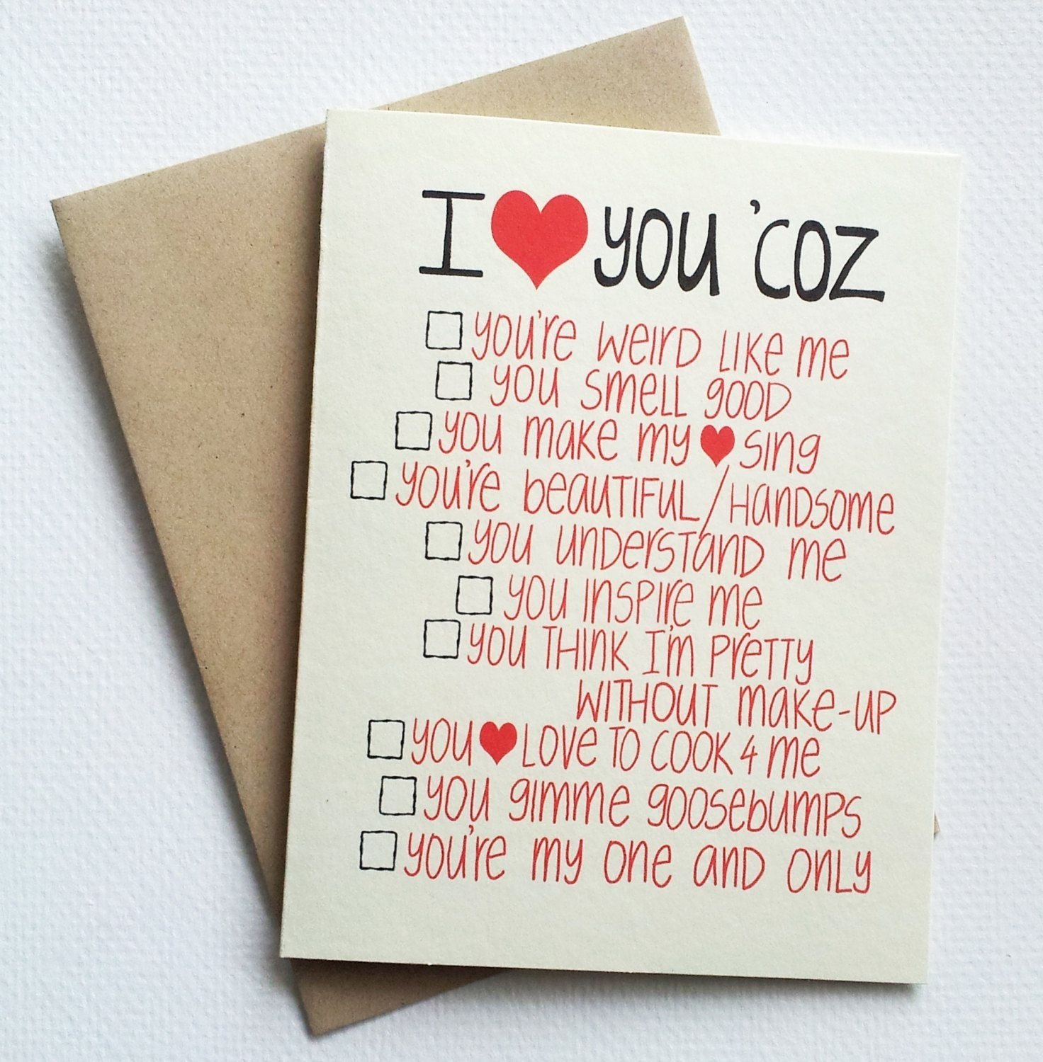 romantic valentines day card with list of reasons -i love you card