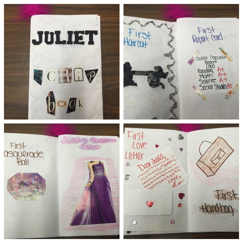 romeo and juliet character scrapbooks | school activities