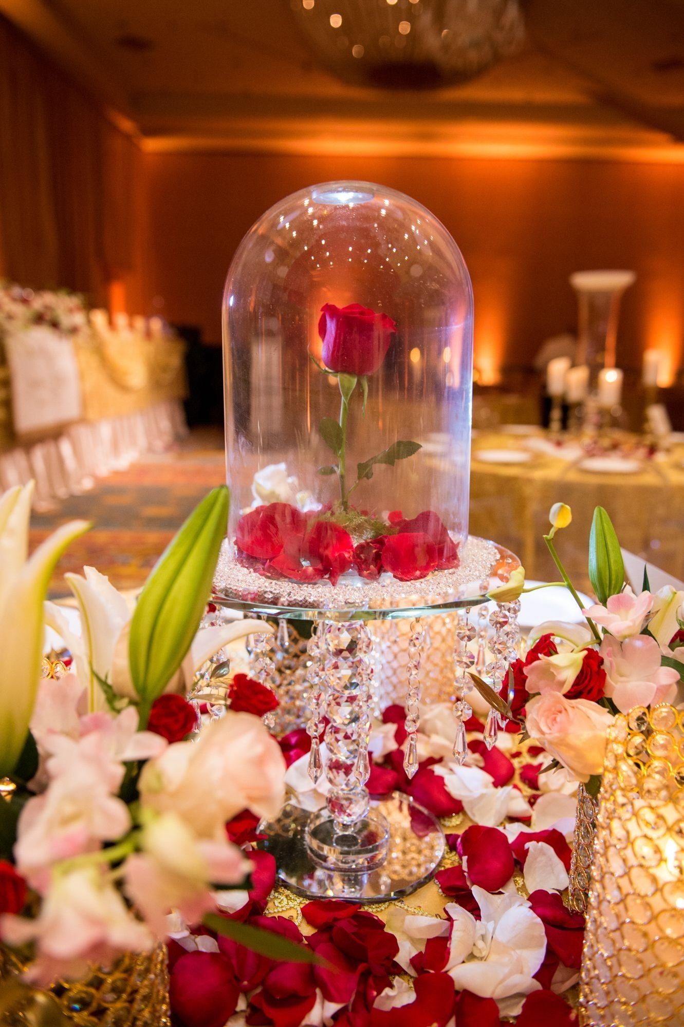 10 Gorgeous Beauty And The Beast Wedding Theme Ideas rose dome centerpiece inspiredbeauty and the beast beauty and