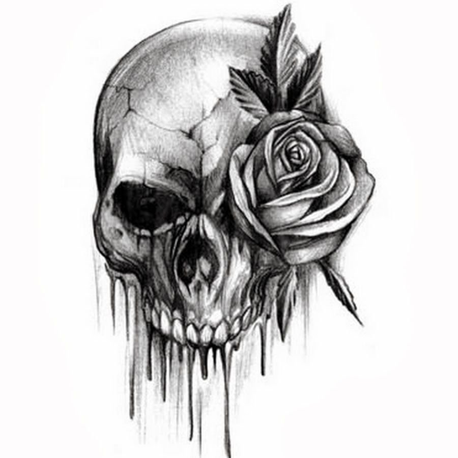 10 Fashionable Black And White Tattoo Ideas rose flower and skull black and white tattoo design idea tattoos 2020