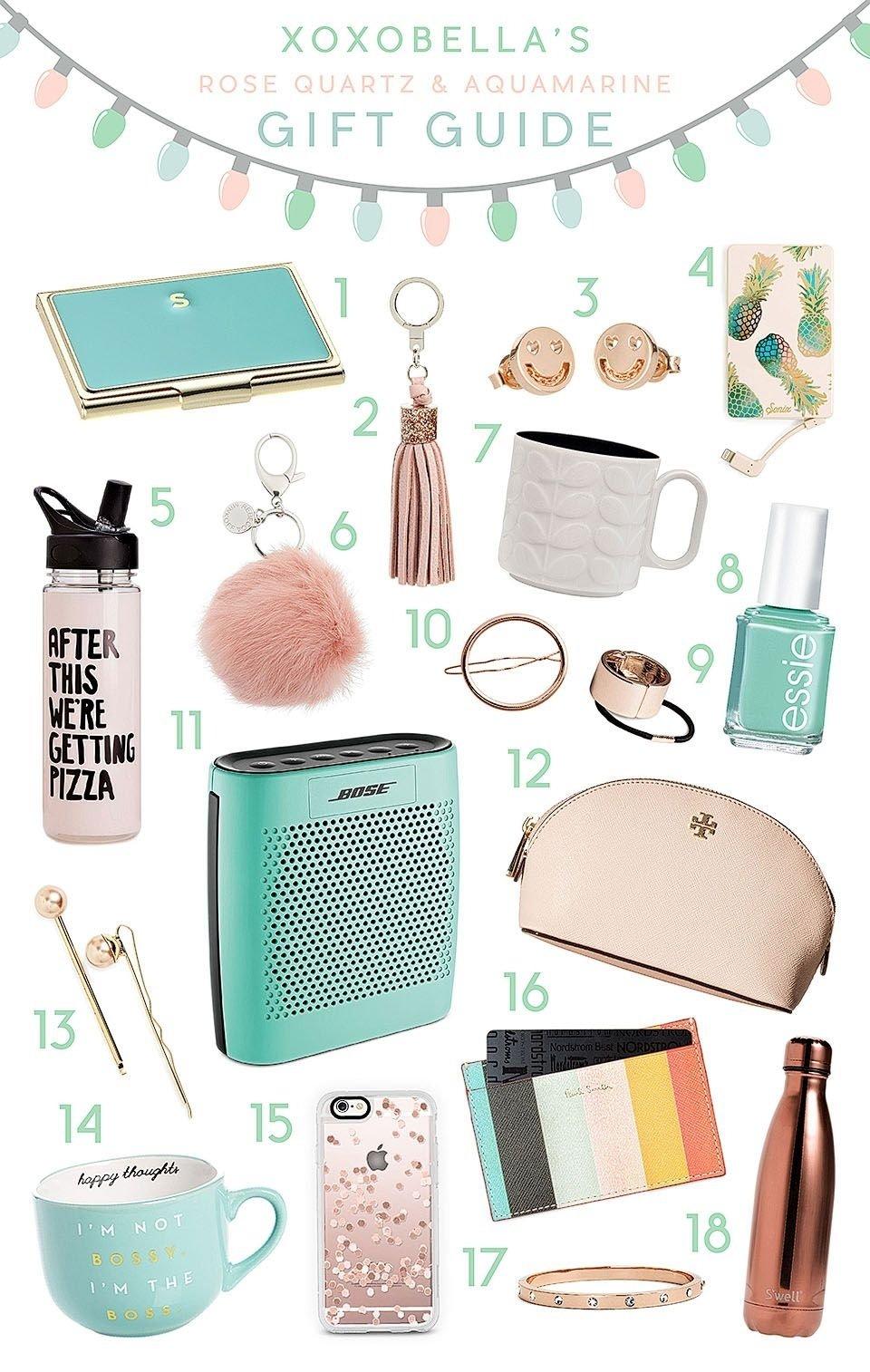 10 Spectacular Birthday Present Ideas For Teenage Girls rose quartz aquamarine gift guide holiday gift guide aqua and rose 9 2021