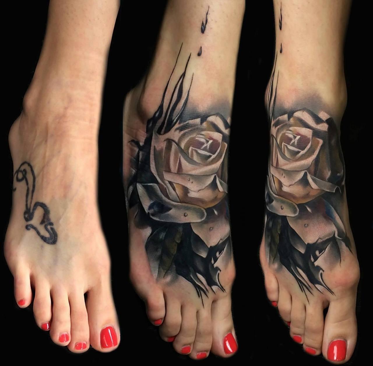 10 Cute Foot Tattoo Cover Up Ideas rose tattoo designs for foot foot rose cover up tattoo design best 2021