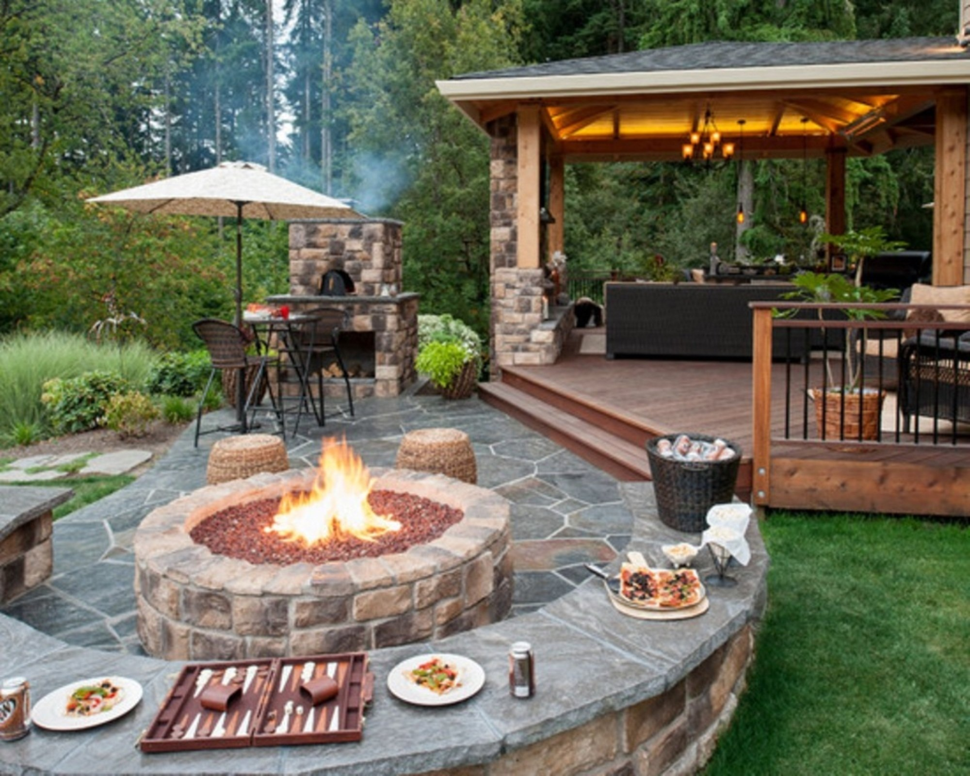 10 Lovely Patio Ideas With Fire Pit round brick fire pit in backyard ideas with stone floor design