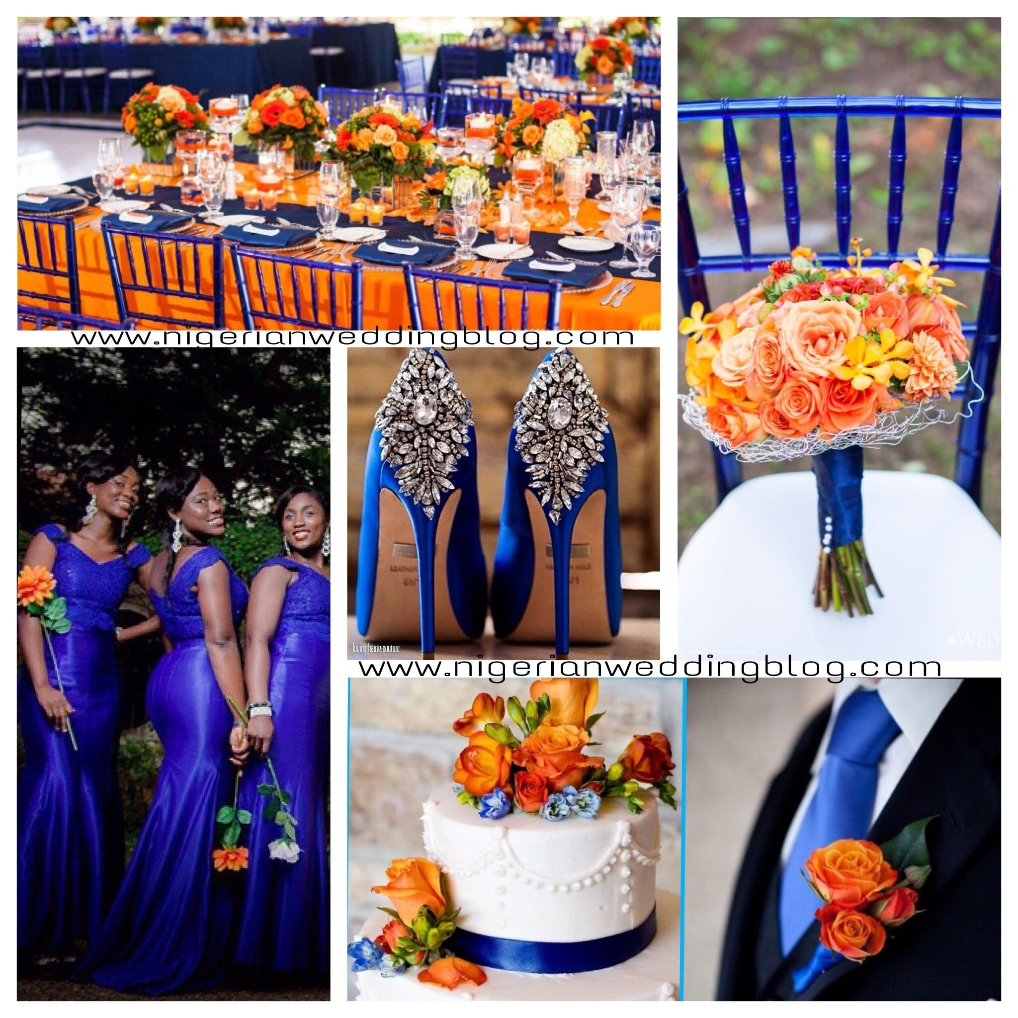 royal blue & orange wedding color sceheme | orange wedding colors