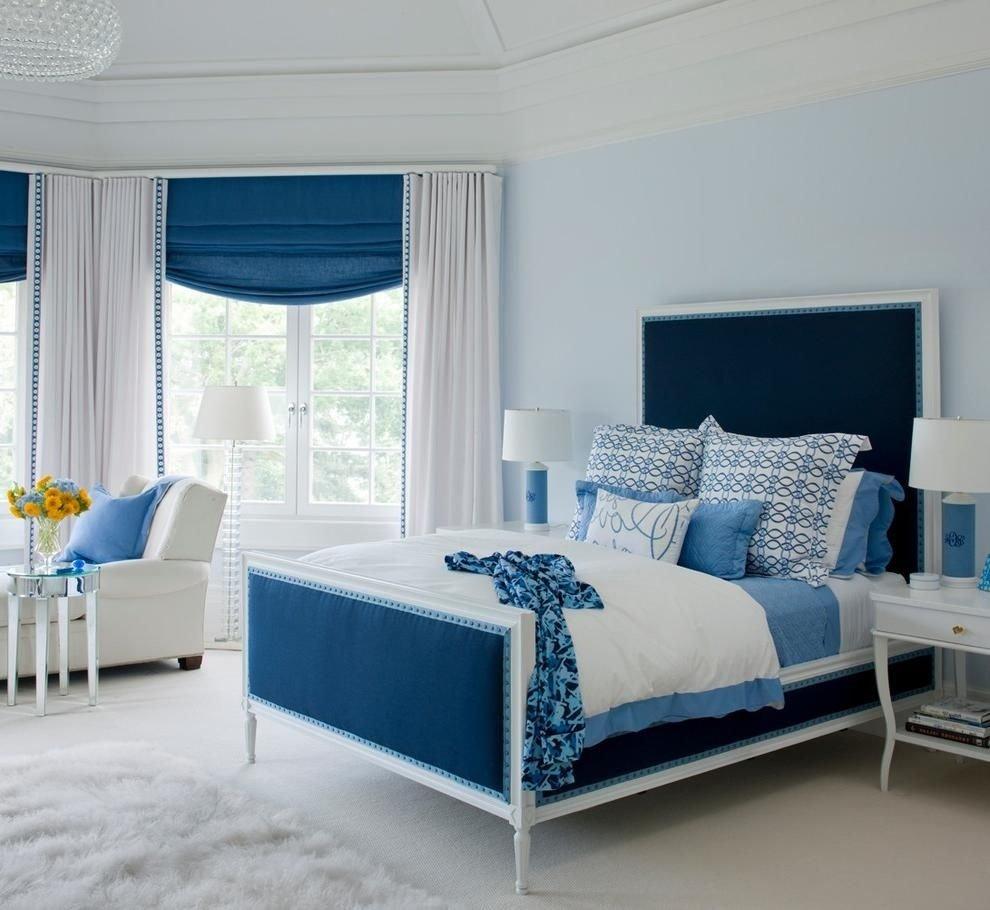 rustic blue teenage girl room design with elegant blue headboard as