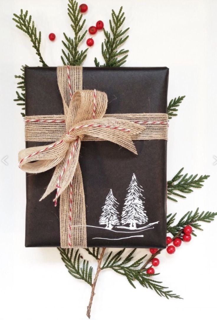 10 Unique Gift Wrapping Ideas For Christmas rustic christmas gift wrap idea plain black wrapping paper with
