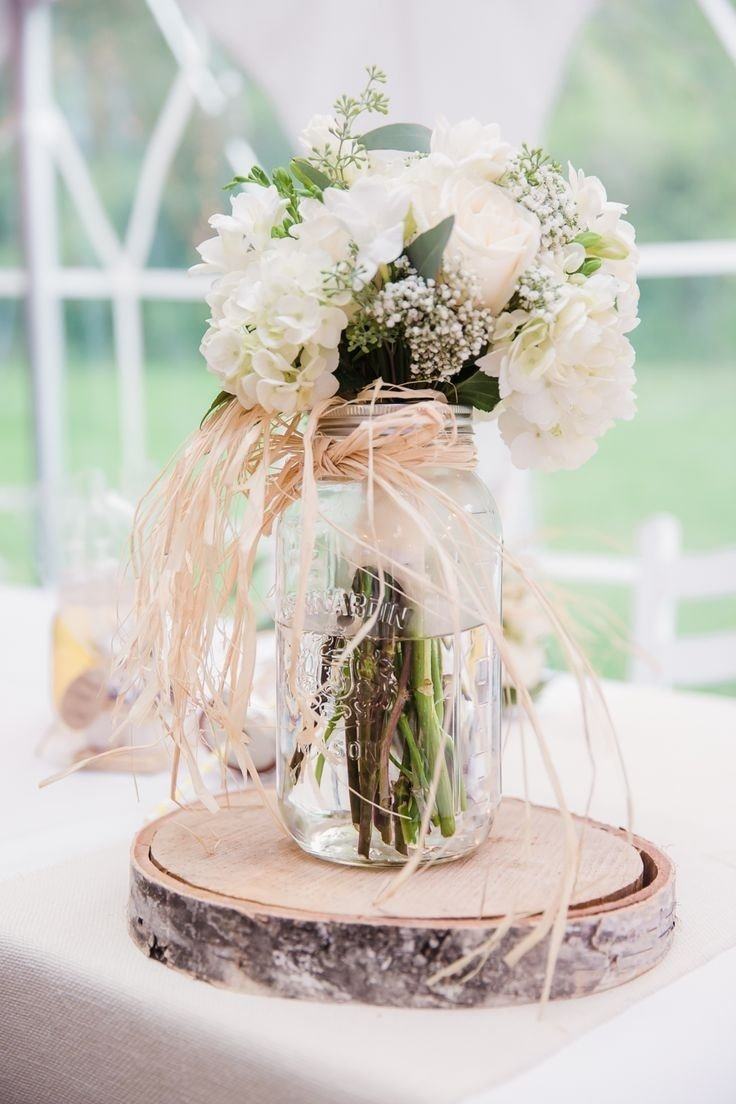 rustic mason jar and birch wedding centerpiece ideas | deer pearl