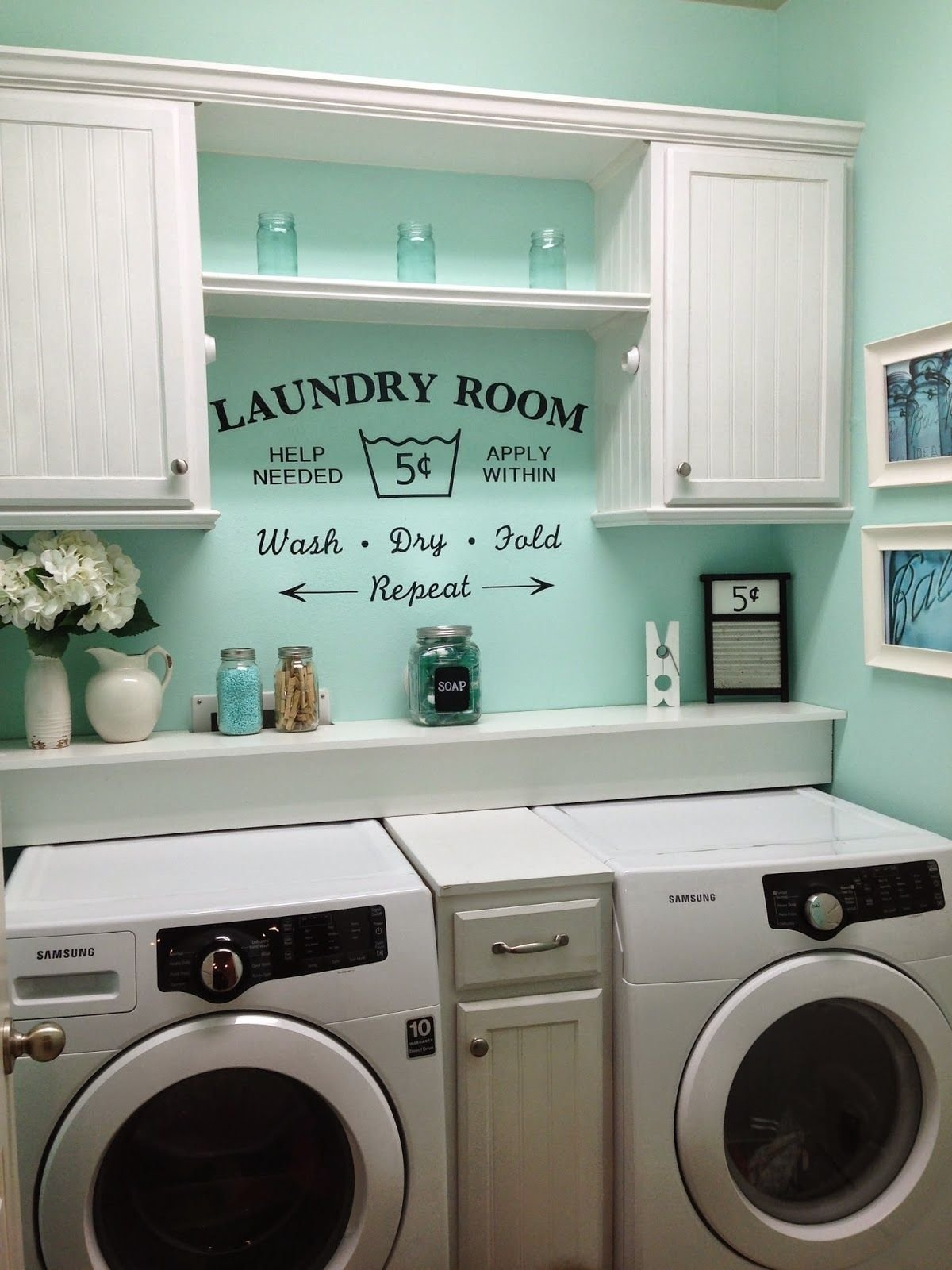 rustic shabby chic laundry room, vintage vinyl decal small laundry