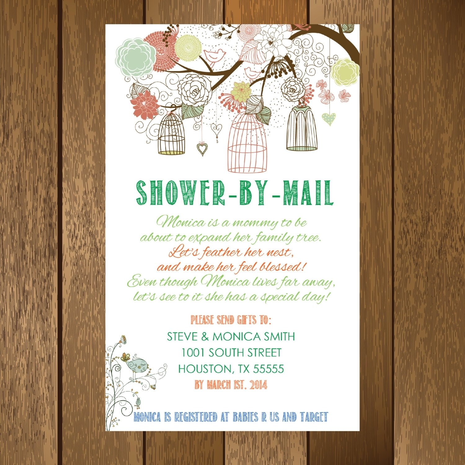 10 Cute Long Distance Baby Shower Ideas rustic showermail baby shower invitation printable rustic 2020