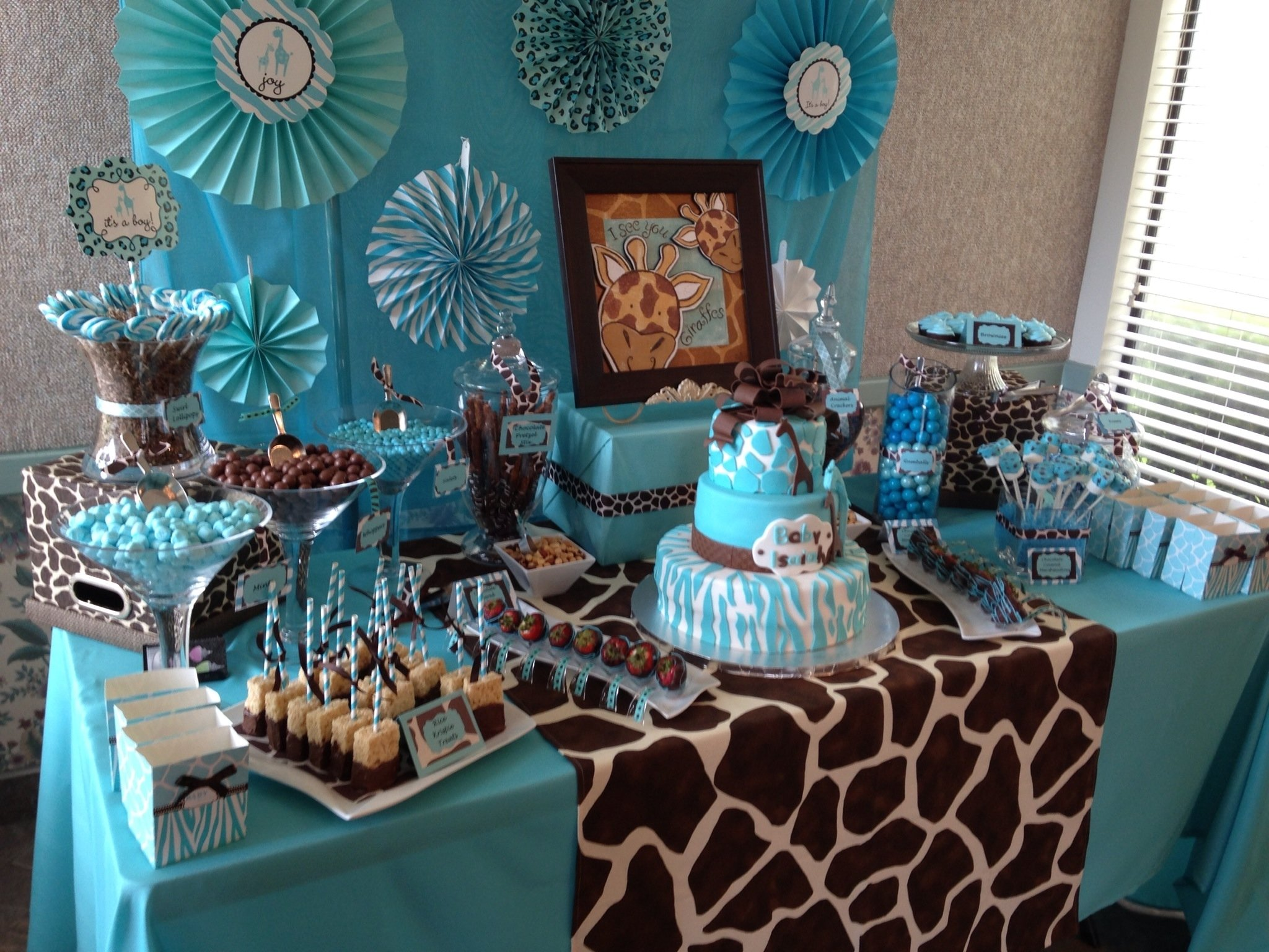 10 Perfect Brown And Blue Baby Shower Decorating Ideas safari baby shower candy table baby shower ideas pinterest