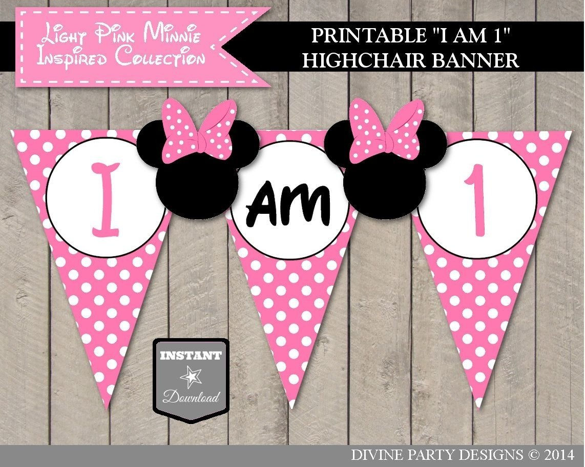 10 Most Popular Minnie Mouse 2Nd Birthday Party Ideas sale instant download light pink minnie inspired i am one banner