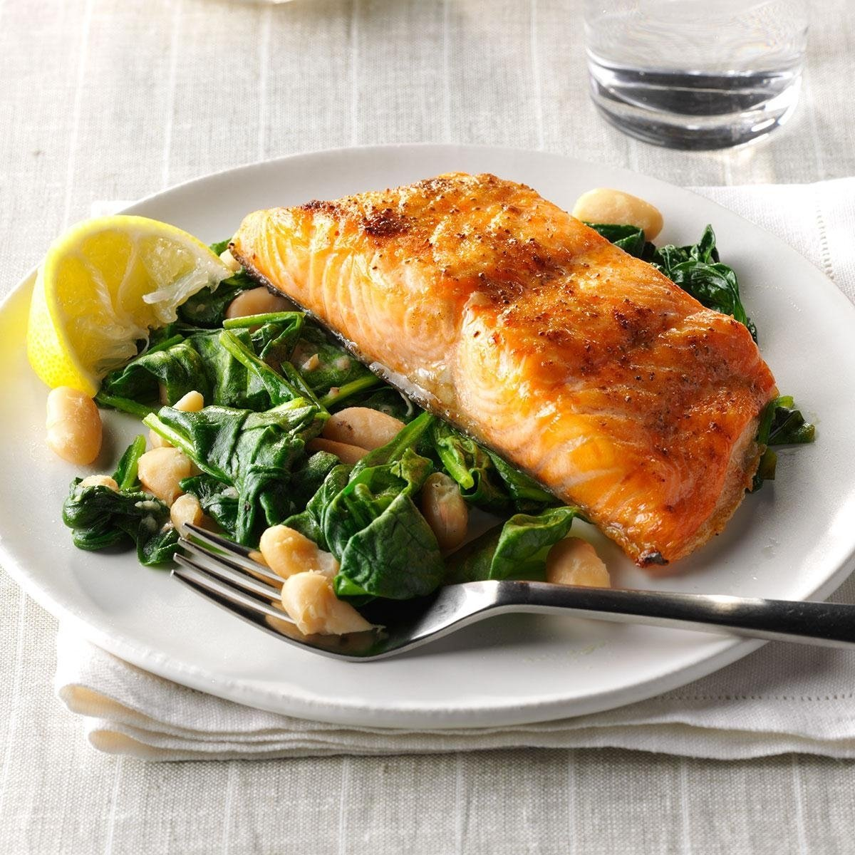10 Spectacular Christmas Dinner Ideas For Two salmon with spinach white beans recipe taste of home 2020