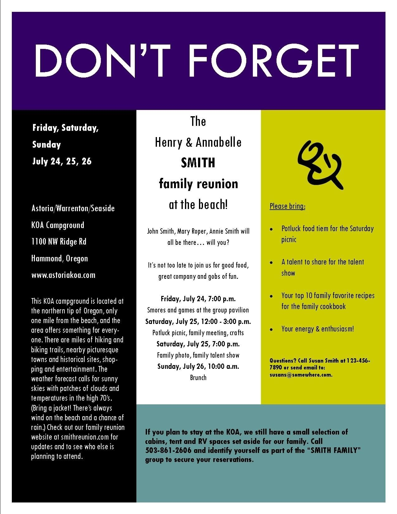sample family reunion invitation flyer | ideas for family reunions