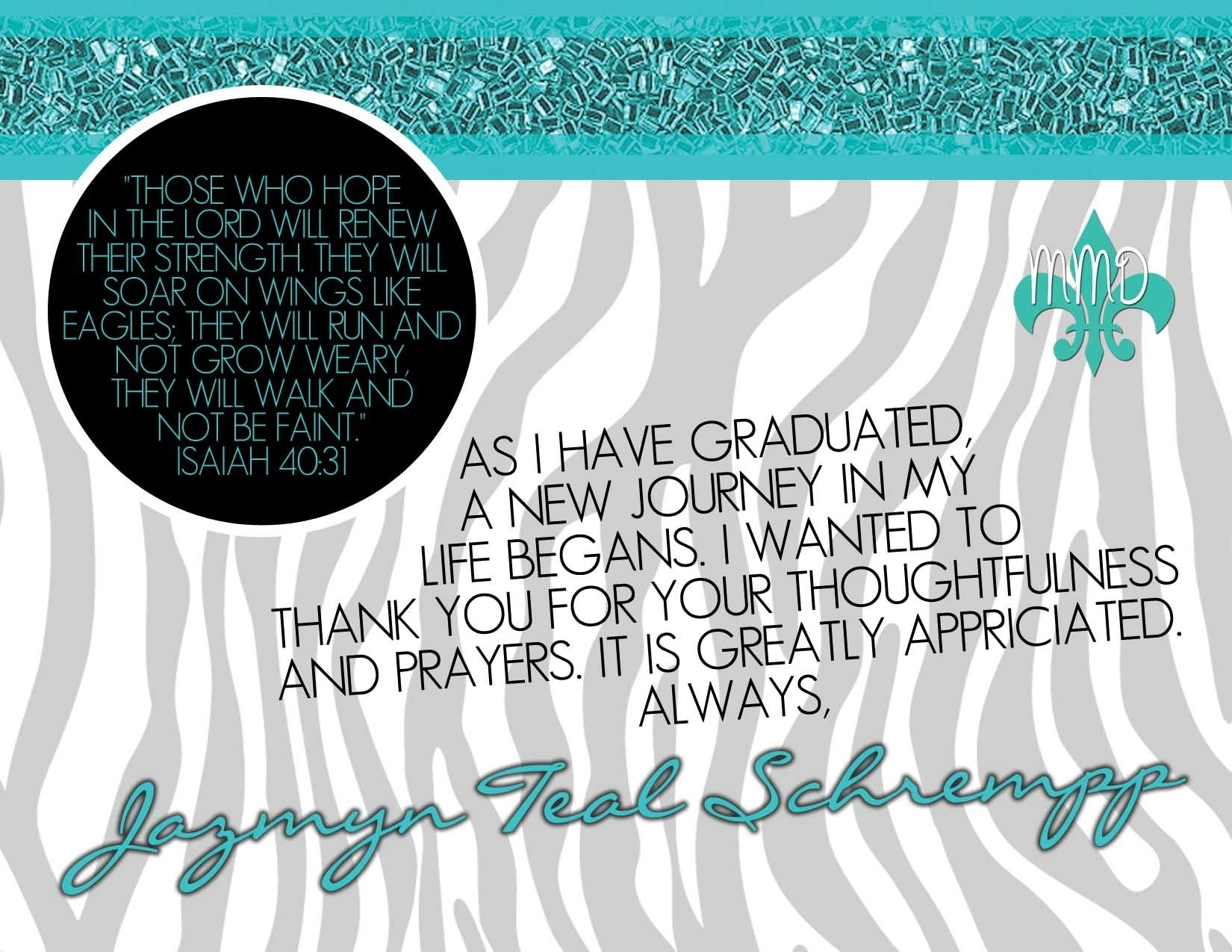 example of graduation thank you card best
