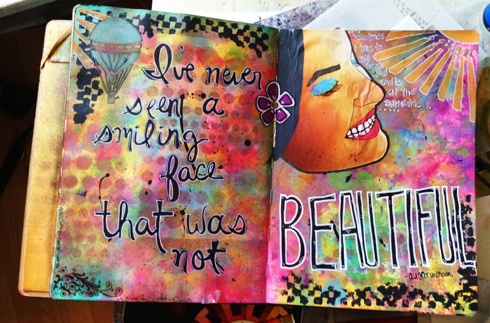 10 Most Popular Journal Ideas For High School saras never never la la land art journal page smiling face 2021