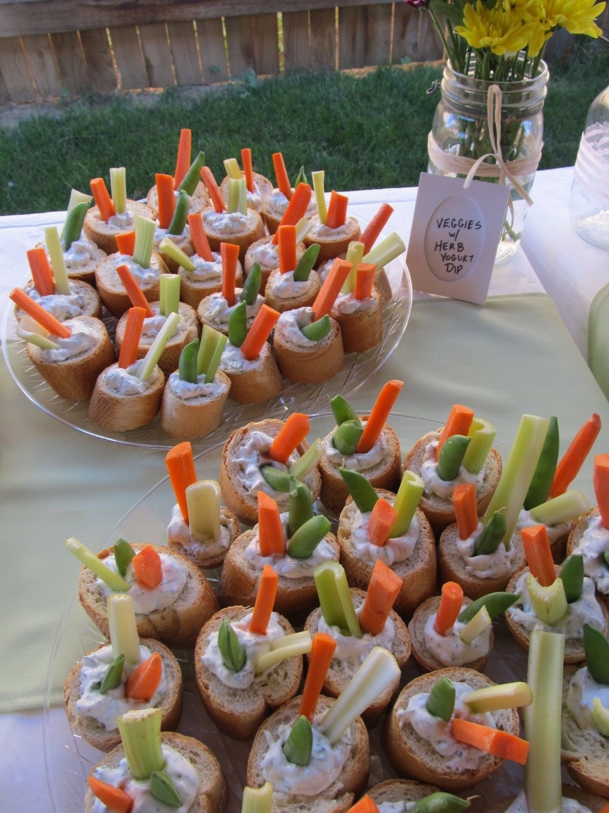 sauce on the wall: baby shower food, crudite in baguette cups | dang