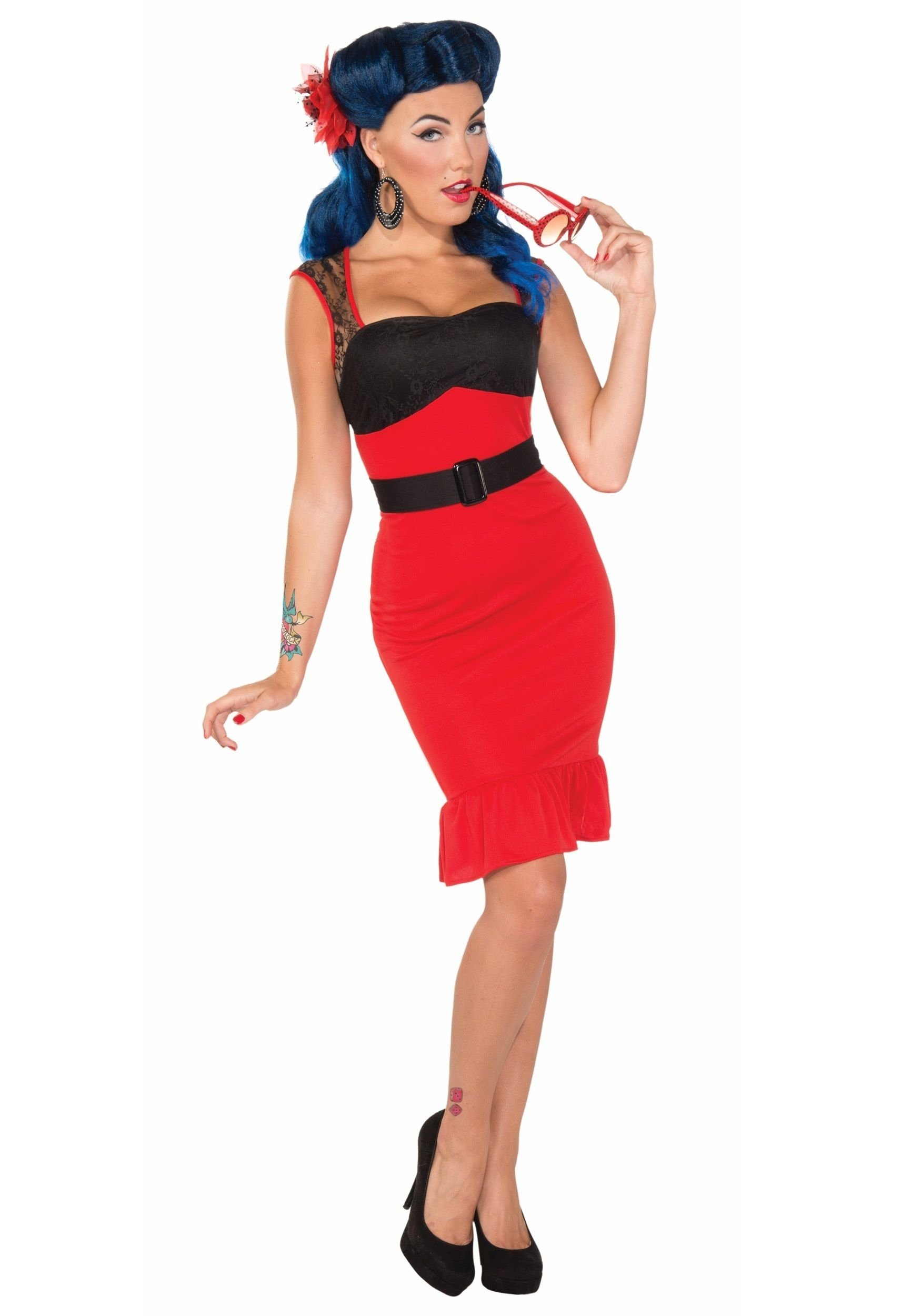 10 Famous Pin Up Girl Costumes Ideas scarlet rose rock a billy dress halloween costume ideas 2020